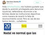 Clara Serra, diputada de Podemos, critica las declaraciones de Rafa Nadal.