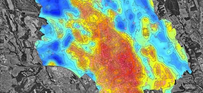 Mapa de comportamiento térmico de Sabadell.
