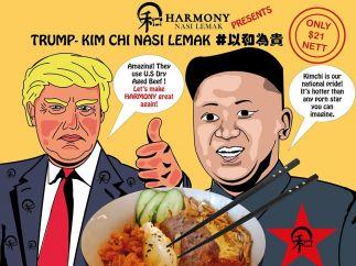 Cartel de un restaurante en Singapur ante la cumbre de Trum y Kim Jong-un