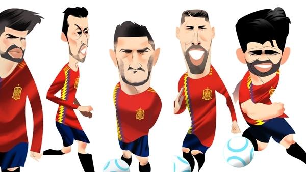 Los jugadores de la selección española