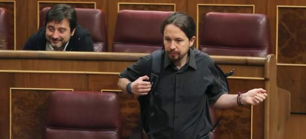 Pablo Iglesias, secretario general de Podemos, en el Congreso de los Diputados.