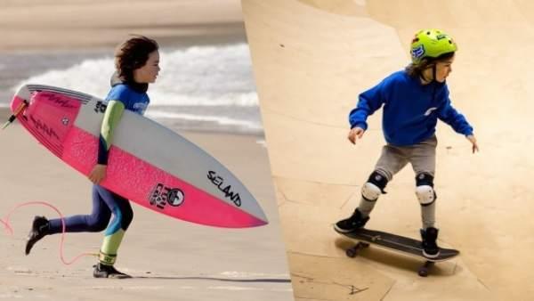 Niños haciendo surf y skate