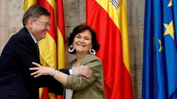 Carmen Calvo y Ximo Puig