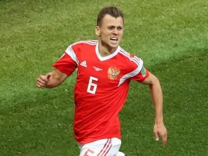 Denis Cheryshev, en el partido inaugural de Rusia 2018.