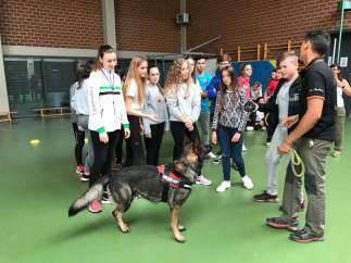 Alumnos realizando las terapias asistidas con animales