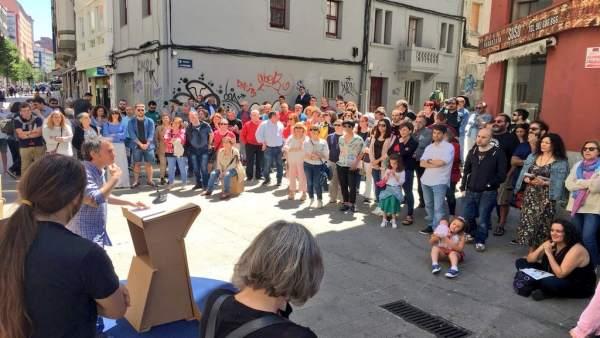 Xulio Ferreiro en el acto del tercer aniversario de Marea Atlántica
