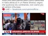 Tuit del ministro del Interior italiano, Matteo Salvini sobre el Aquarius