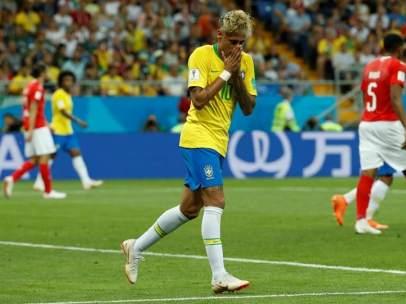 Neymar, en el encuentro entre Brasil y Suiza del Mundial de Rusia.