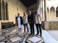 Quim Torra junto a Javier Pacheco, Camil Ros y Montse Ros.