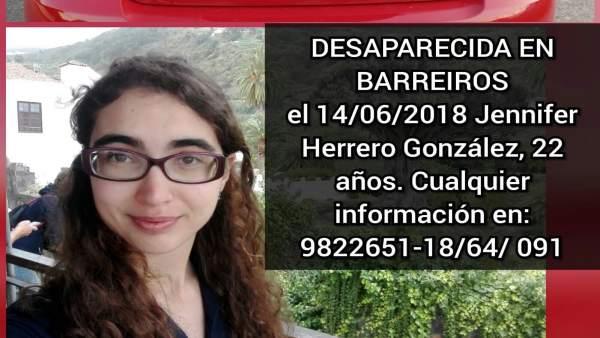 Cartel de una joven desaprecida en Barreiros difundido por la familia en redes.