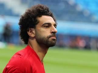Salah, en un entrenamiento con Egipto.