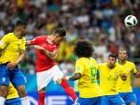 Zuber, en el encuentro entre Brasil y Suiza del Mundial de Rusia.