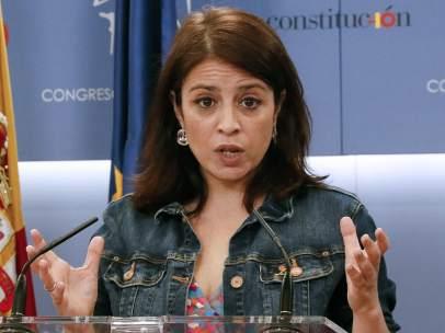 Adriana Lastra tras la reunión de la Junta de Portavoces.