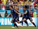 Japón celebra su segundo gol frente a Colombia en Rusia 2018.