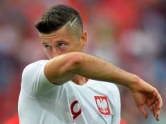 Robert Lewandowski, delantero de Polonia, en el partido frente a Senegal.