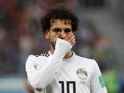 Mohamed Salah, en el encuentro entre Egipto y Rusia del Mundial 2018.