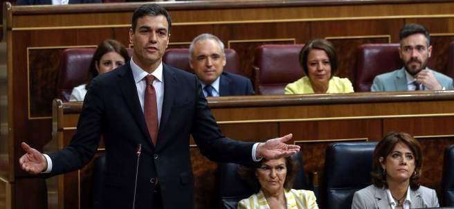 El presidente Sánchez, este miércoles en la primera sesión de control a su Gobierno.