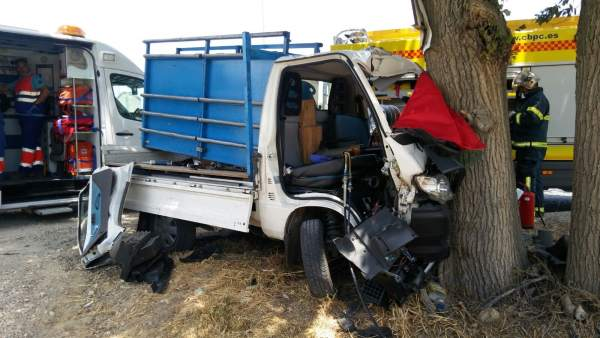 Camioneta accidentada en Chiclana