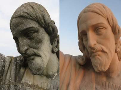 La escultura del Sagrado Corazón de Jesús antes y después de la restauracion