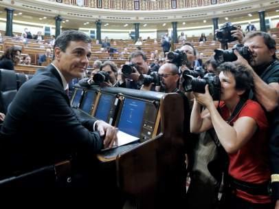 Pedro Sánchez, presidente del Gobierno, este miércoles en el Congreso de los Diputados.