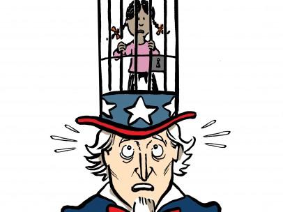 Trump y su política migratoria, viñeta de Malagón