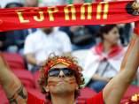 Un aficionado de la selección española, antes del partido Irán-España de la fase de grupos del Mundial de Rusia 2018.