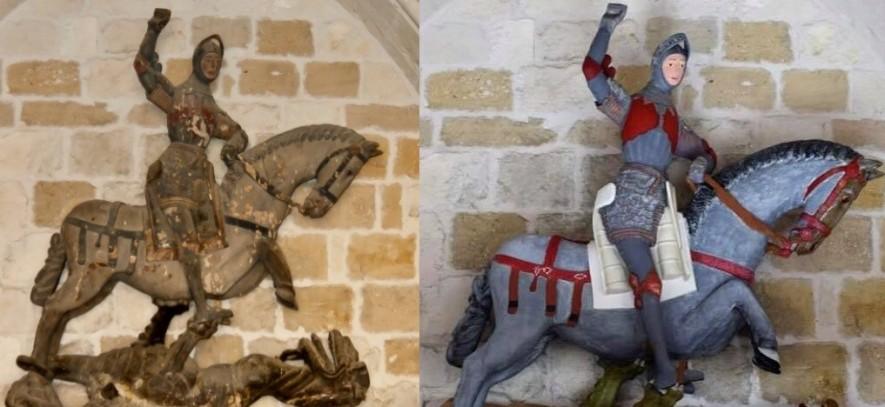 Un San Jorge convertido en muñeco. Comparativa de la polémica restauración del San Jorge en una capilla de Estella, en Navarra.
