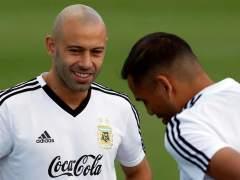 Javier Mascherano, en un entrenamiento con Argentina.