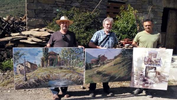 Ganadores del concurso de pintura rápida de Belsué.