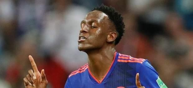 Yerry Mina celebra su gol en el partido entre Colombia y Polonia de Rusia 2018.