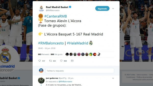 Tuit del Real Madrid de baloncesto