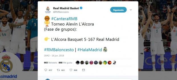Tuit del Real Madrid de baloncesto