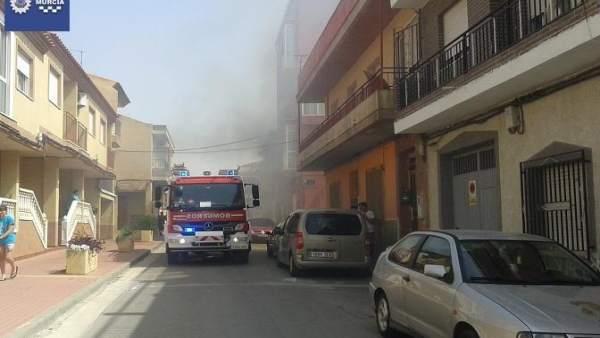 Incendio de una vivienda en Murcia