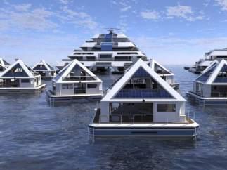 Una ciudad de pirámides flotantes