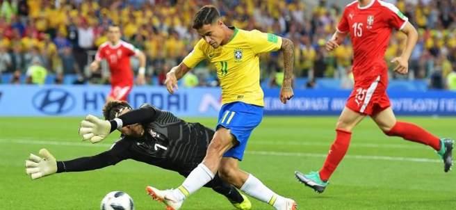 Coutinho, en el partido entre Brasil y Suiza de Rusia 2018.