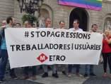 Protesta de los trabajadores del metro de Barcelona.