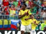 Yerry Mina celebra su tanto en el Senegal - Colombia.