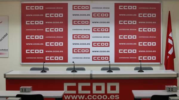 Imagen de recurso de una sala de prensa de CCOO