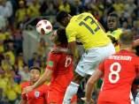 Yerry Mina, anotando el tanto del empate entre Colombia e Inglaterra de Rusia 2018.
