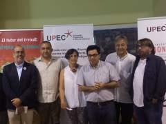 Oriol Lladó, Javier Pacheco, Gerardo Pisarello, Jordi Serrano y Camil Ros en la inauguración de la XIV Universitat Progressista d'Estiu.