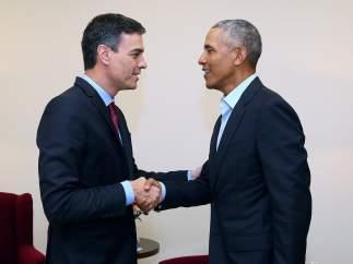 Pedro Sánchez y Barack Obama
