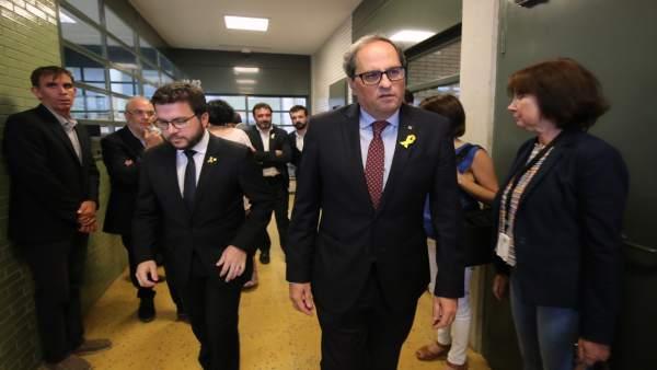 El vpte.P.Aragonès y el pte.Q.Torra vistan en la cárcel a Forcadell y Bassa.