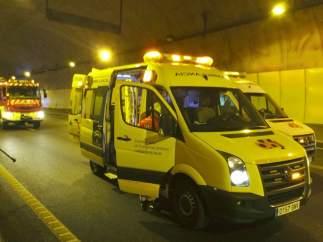 Ambulancia durante el simulacro