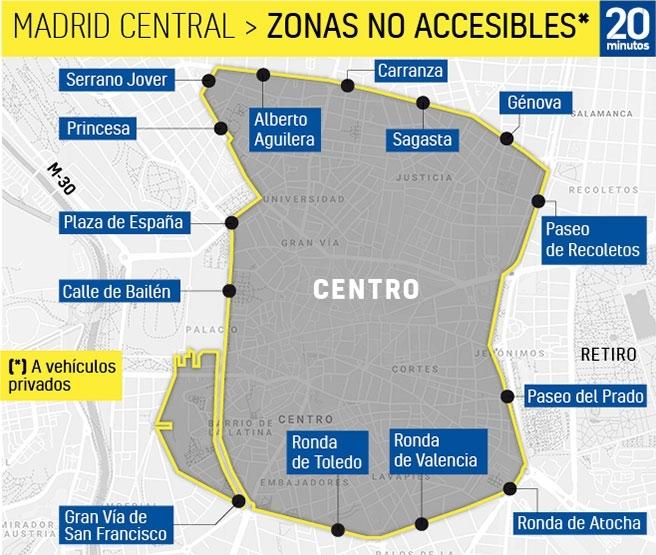 Restricciones Tráfico Madrid Mapa.Mapa De La Apr De Madrid Central