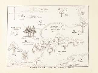 Ilustración del mapa original del Bosque de los Cien Acres de 'Winnie the Pooh'.