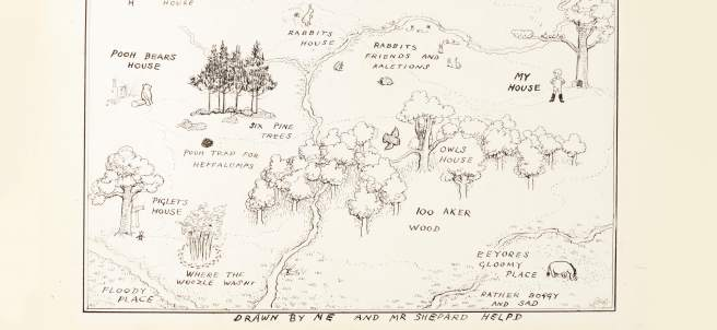 Ilustración del mapa original del Bosque de los Cien Acres de 'Winnie the Pooh'.