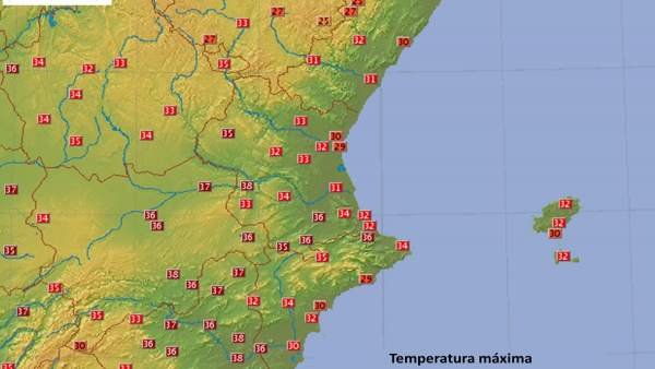 Temperaturas máximas de este martes, 10 de julio