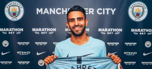 Riyad Mahrez, presentado como nuevo jugador del Manchester City.