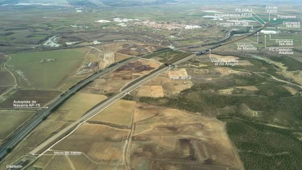 Tramo que construirá OHL en la línea Zaragoza-Pamplona