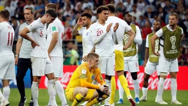 La selección inglesa, tras caer derrotada ante Croacia en la semifinal del Mundial de Rusia 2018.